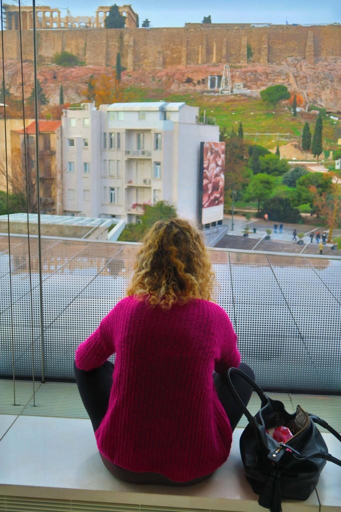 Veduta del Partenone dal Museo dell'Acropoli di Atene.