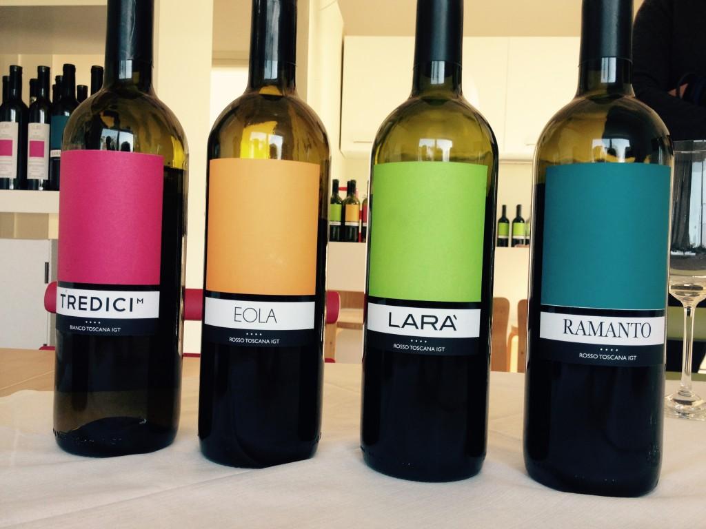 Le bottiglie in degustazione da Colline di Sopra.