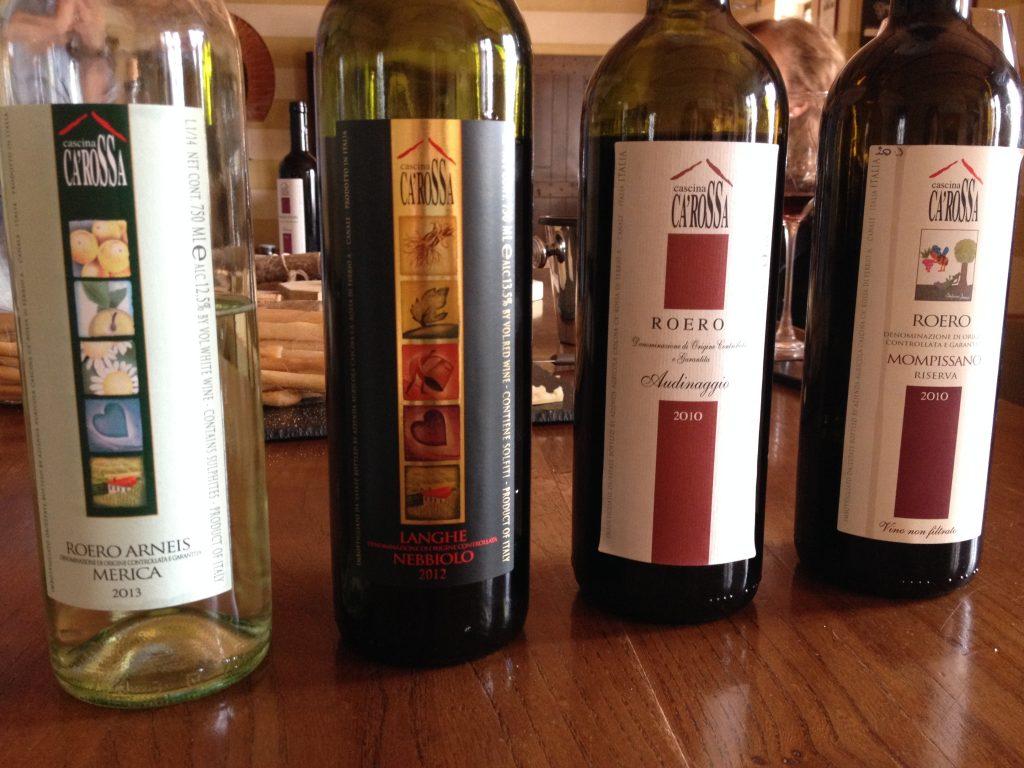 Alcune delle bottiglie di Cascina Ca'Rossa.