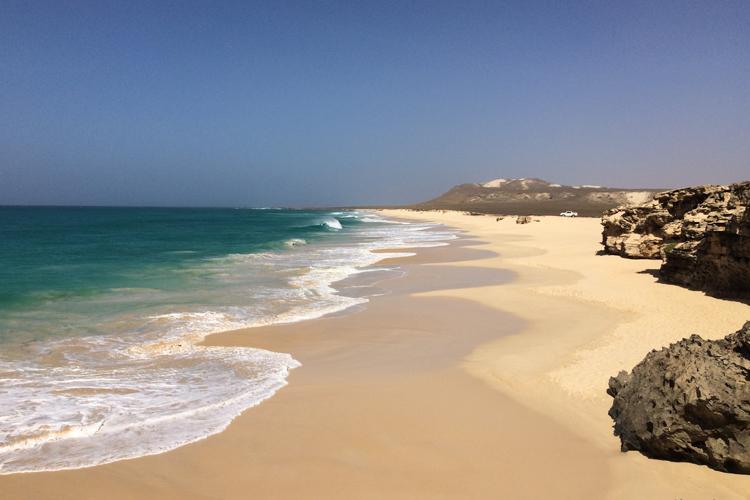 La spiaggia di sabbia bianca Varandinha. Boa Vista