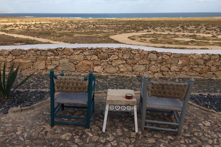 Veduta da Spinguera sul mare e la steppa a Boa Vista