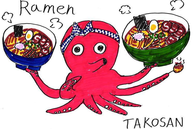 I ramen di Tako San disegnati, con un polipo corallo al centro che tiene i piatti - dove mangiare a Marsiglia
