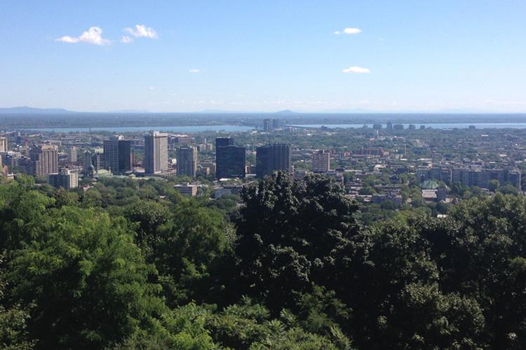Veduta panoramica di Montréal dal Parc Mont Royal.