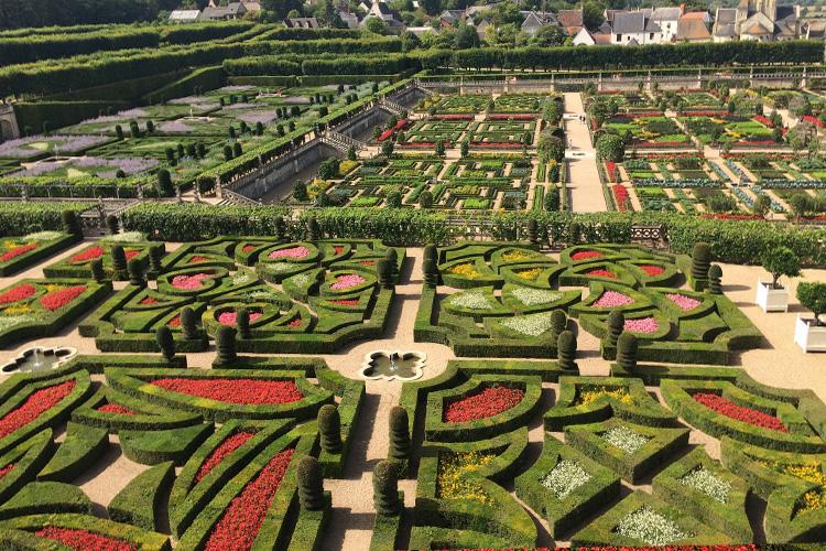 Veduta dall'alto di una parte dei giardini di Villandry.