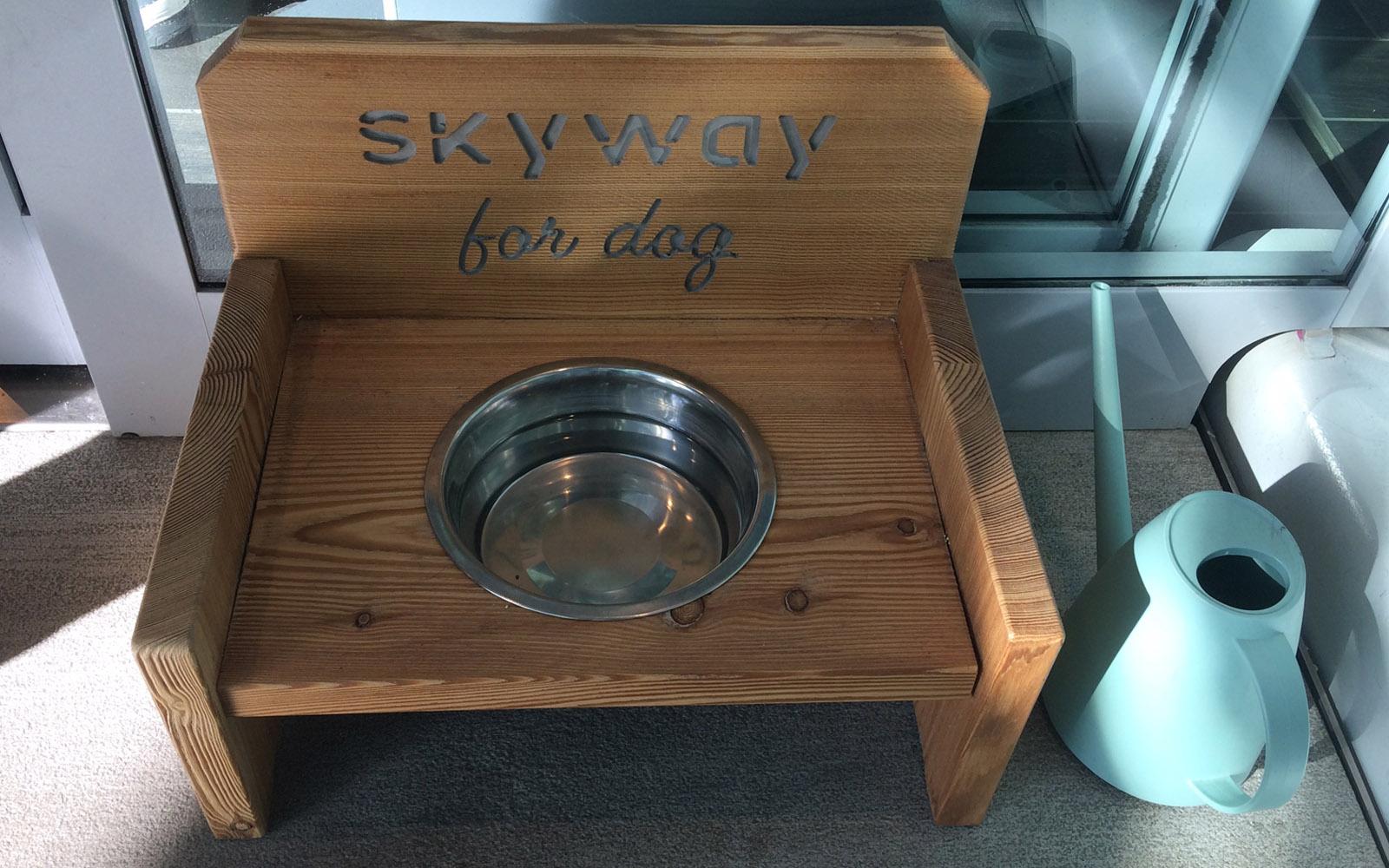 Una delle ciotole per cani che si trovano nello Skyway Monte Bianco