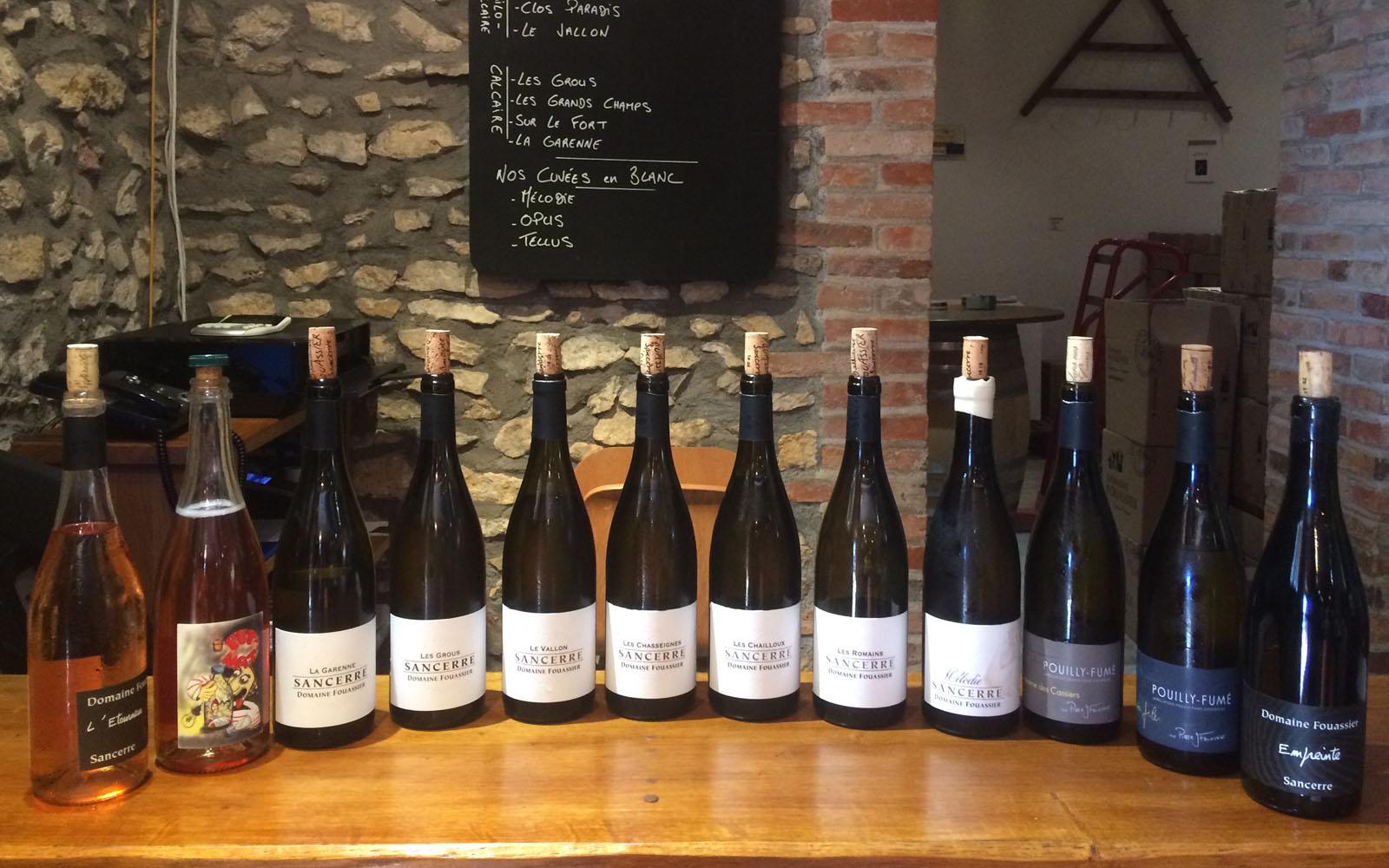 Il ricco ventaglio di bottiglie degustate nel Domaine Fouassier, a Sancerre.