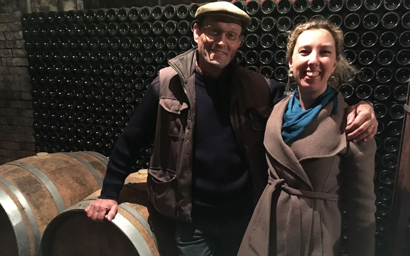 Nella cantina di Bliard, insieme al vigneron.