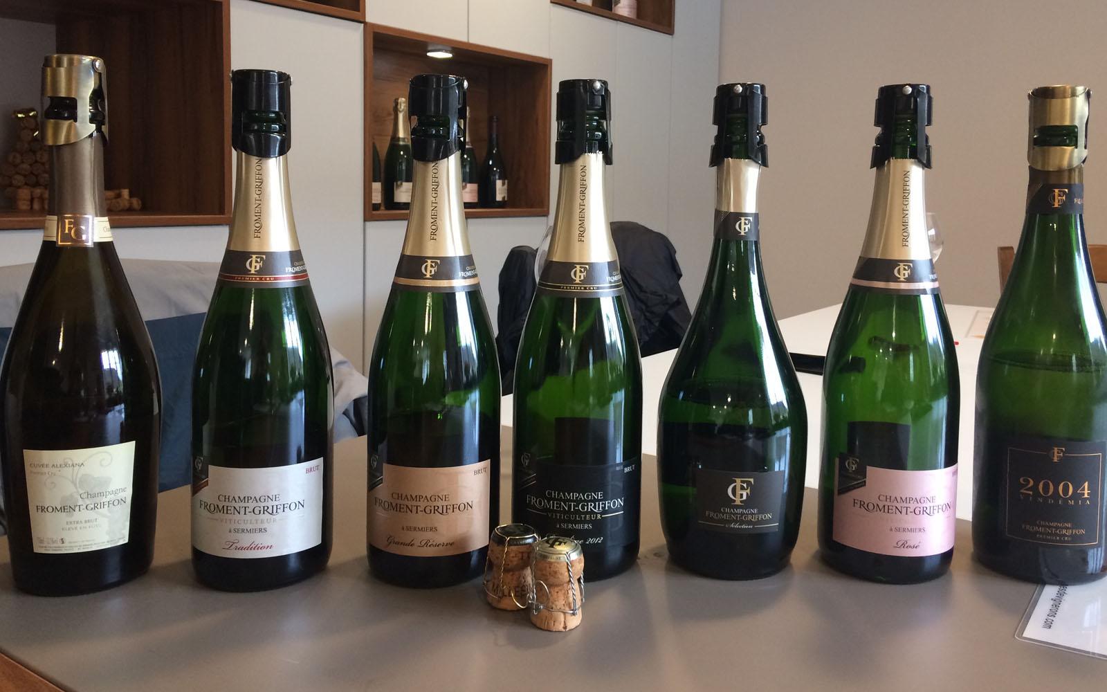 Gli Champagne degustati nella cantina Froment-Griffon, a Sermiers.