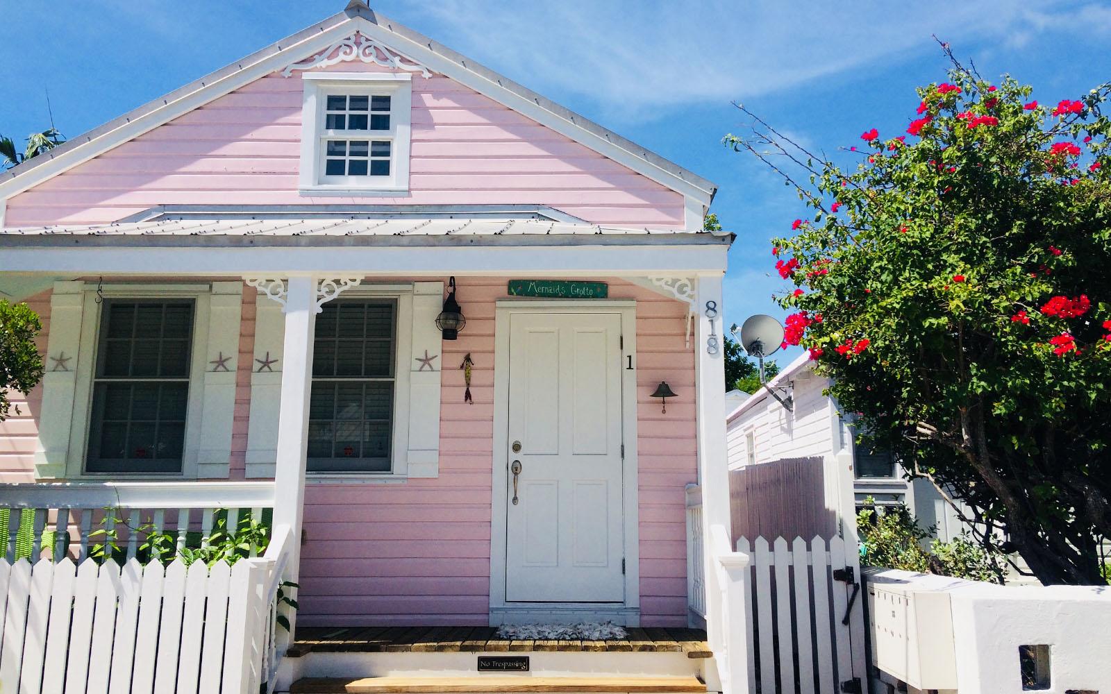 Conch house, una delle caratteristiche case color pastello di Key West.
