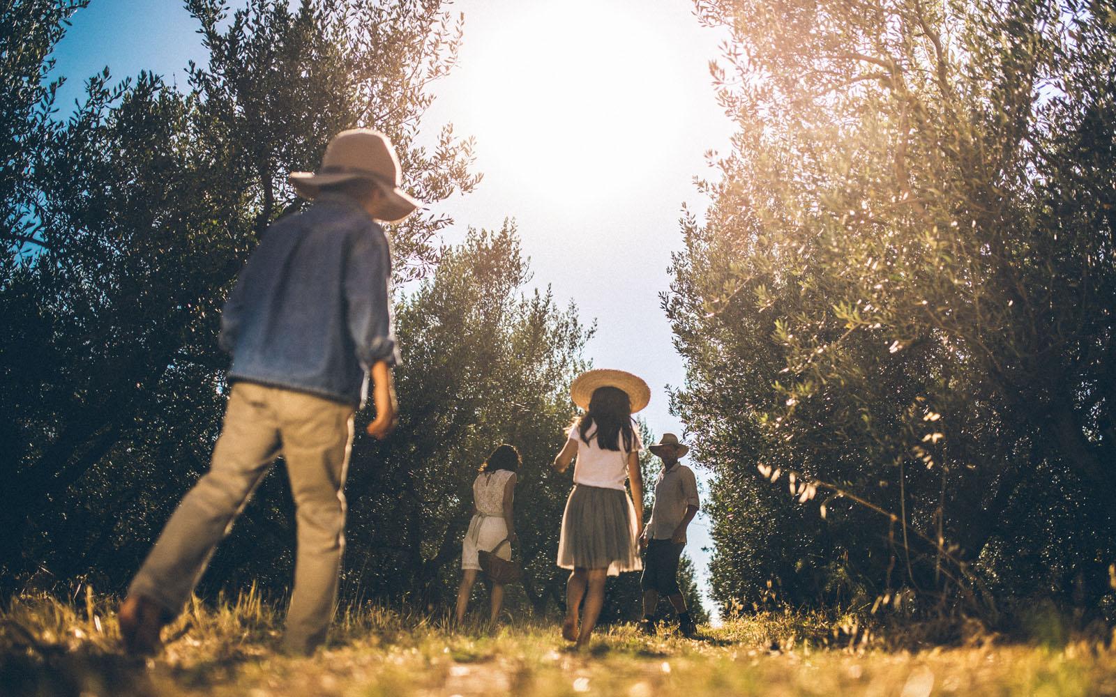 Nina e la sua famiglia tra gli ulivi, nella Fattoria Gramona.
