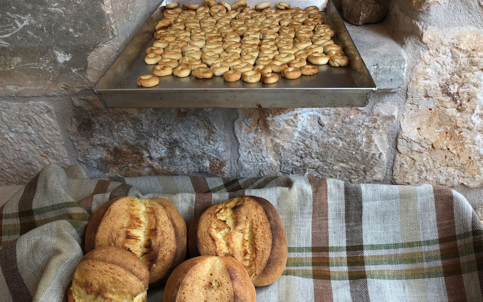 Taralli e pane caldo, appena sfornati dal trullo-forno del Frantoio d'Amico.