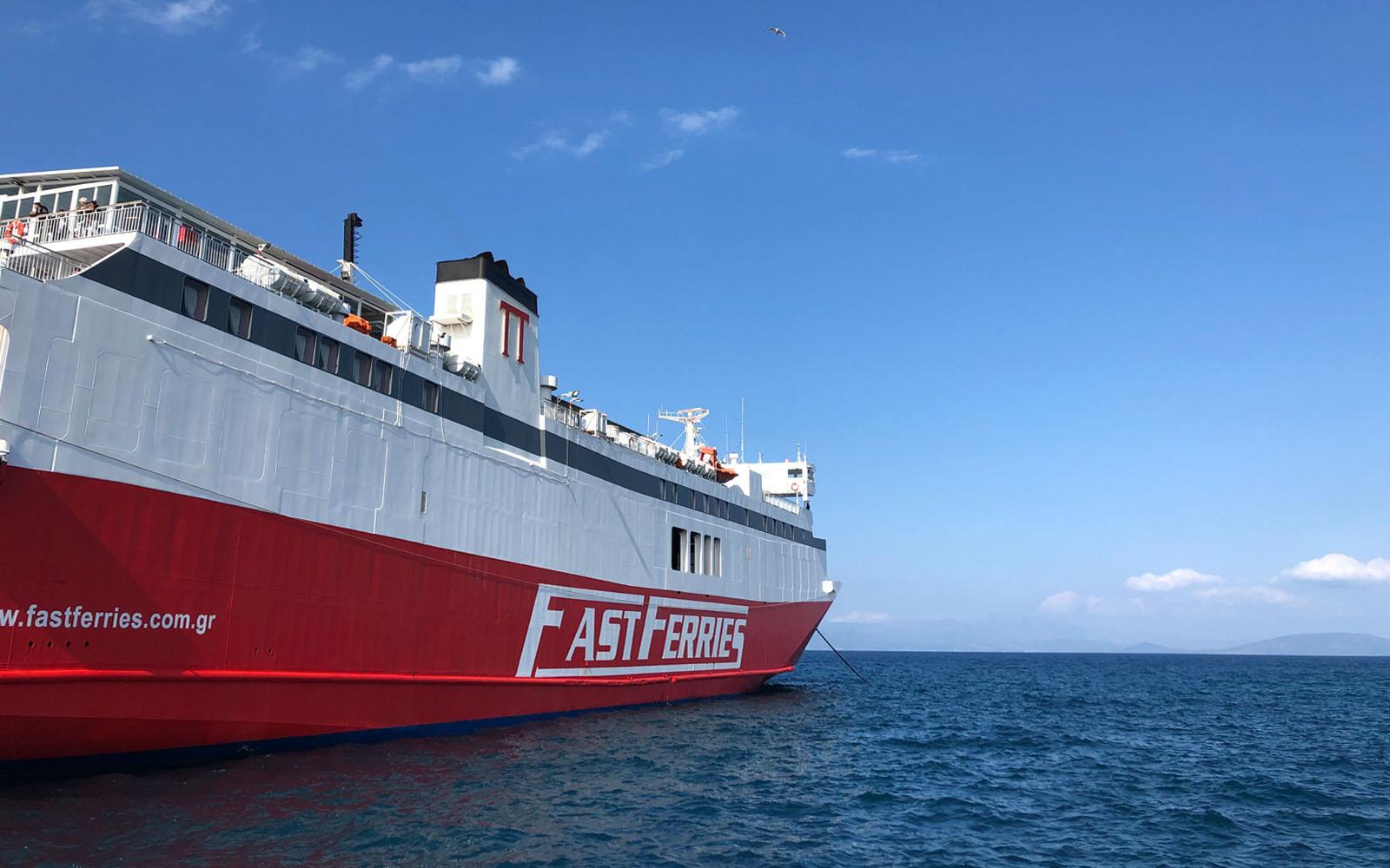 Il traghetto che mi ha portato da Atene all'isola di Andros, nelle Cicladi.