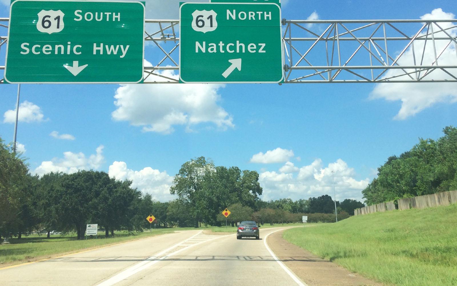L'uscita di Natchez della storica Highway 61.