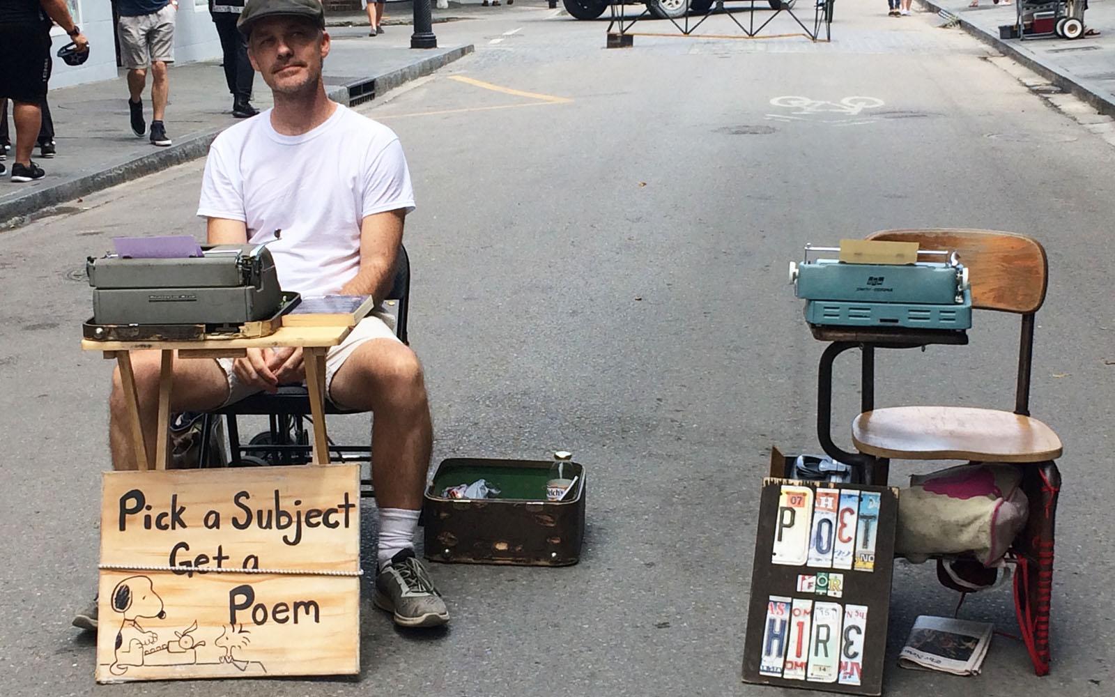 Un poeta di strada a New Orleans.