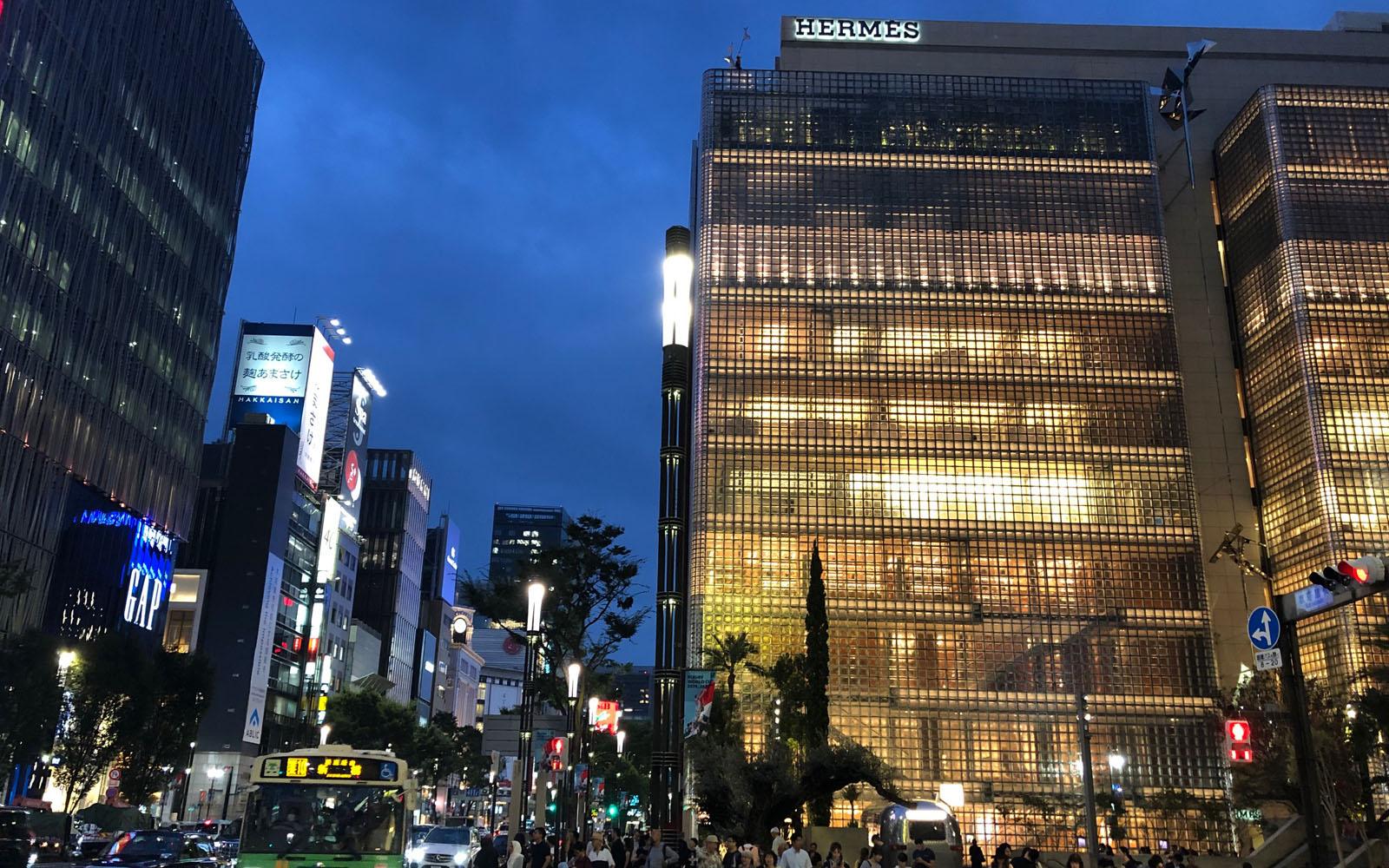 La boutique di Hermes a Ginza, Tokyo.