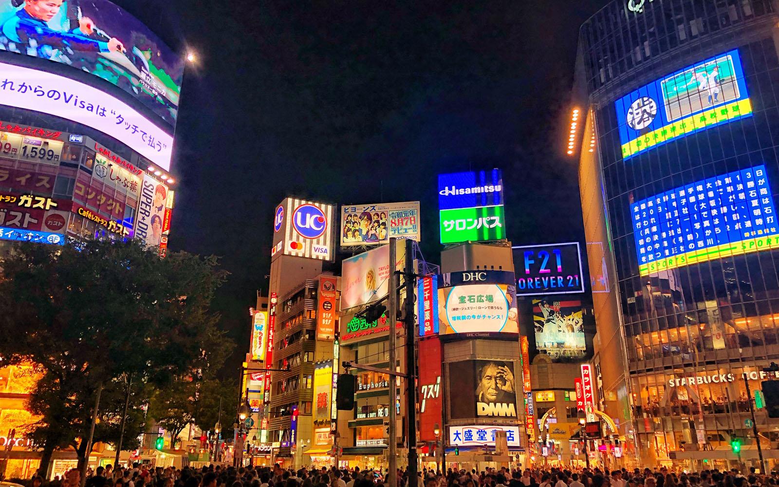 Il famoso incrocio di Shibuya.