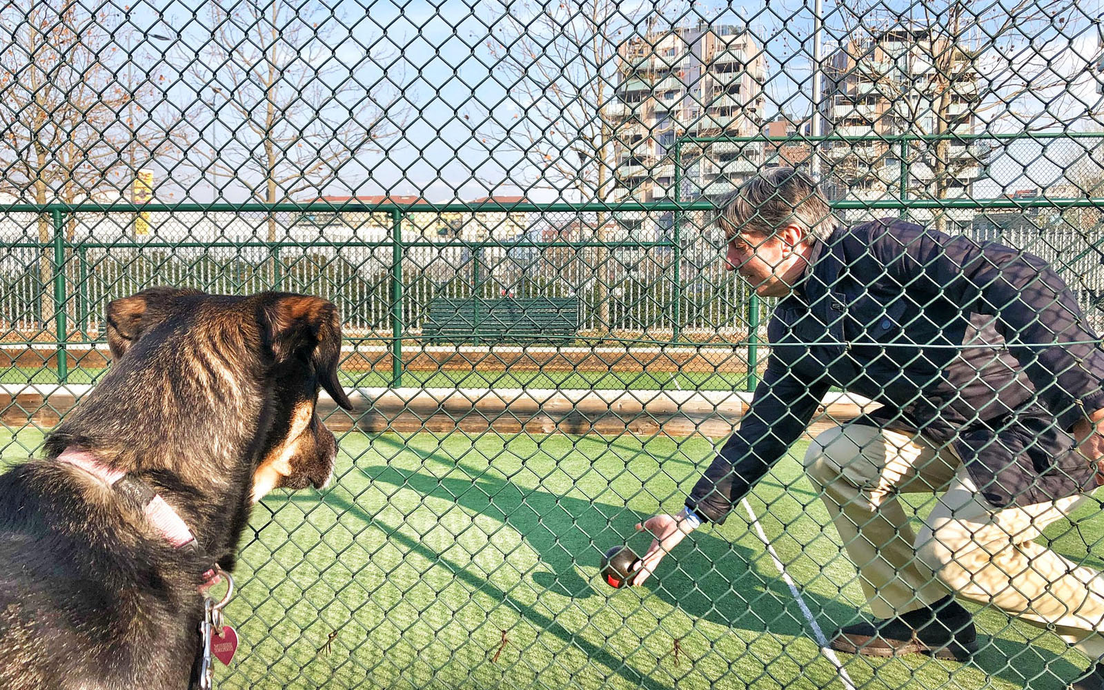 Il campo da bocce del Parco del Portello e la mia 'cagnolina' Pastis. © oltreilbalcone